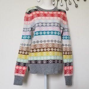 Gap sweater Fairisle stripe lambs wool medium